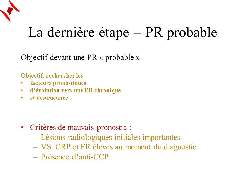 La dernière étape = PR probable Objectif devant une PR « probable » Objectif: rechercher les facteurs pronostiques dévolution vers une PR chronique et