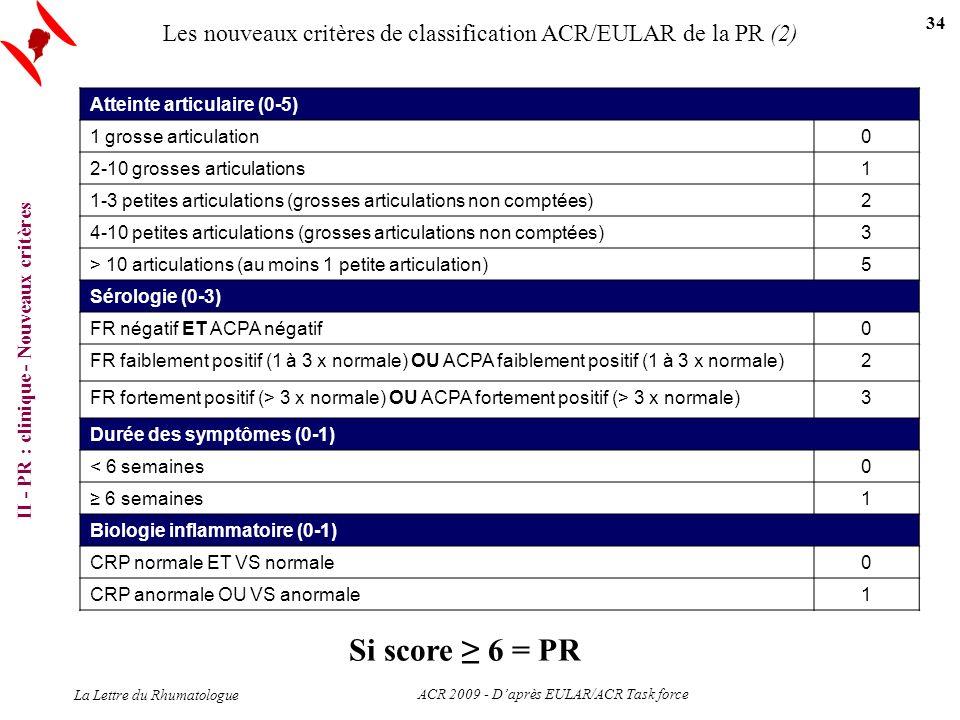 Les nouveaux critères de classification ACR/EULAR de la PR (2) Atteinte articulaire (0-5) 1 grosse articulation0 2-10 grosses articulations1 1-3 petit