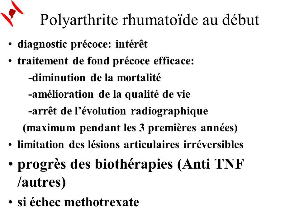 Polyarthrite rhumatoïde au début diagnostic précoce: intérêt traitement de fond précoce efficace: -diminution de la mortalité -amélioration de la qual