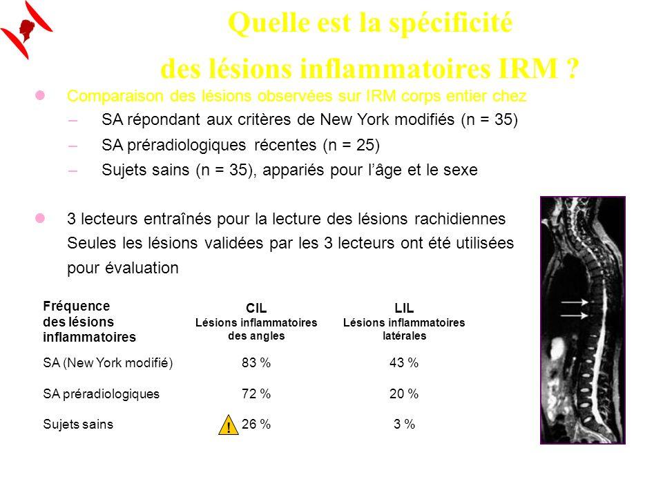La Lettre du RhumatologueACR 2008 - Daprès Weber (1968) Quelle est la spécificité des lésions inflammatoires IRM ? Comparaison des lésions observées s