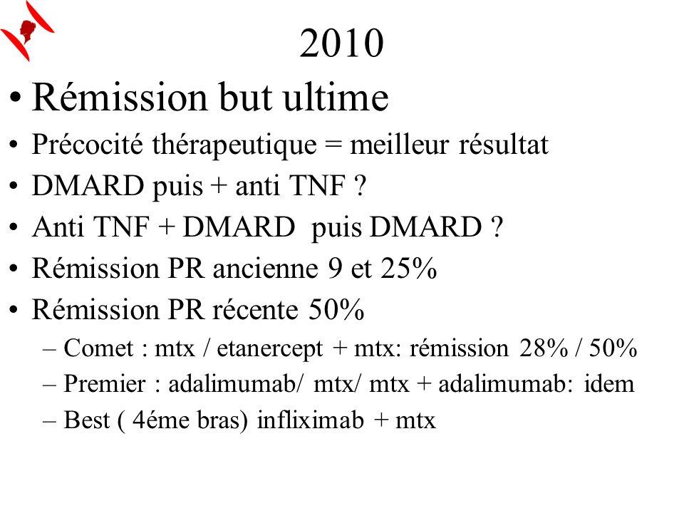 2010 Rémission but ultime Précocité thérapeutique = meilleur résultat DMARD puis + anti TNF ? Anti TNF + DMARD puis DMARD ? Rémission PR ancienne 9 et