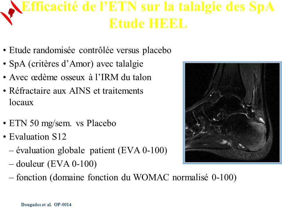 Dougados et al. OP-0014 Efficacité de lETN sur la talalgie des SpA Etude HEEL Etude randomisée contrôlée versus placebo SpA (critères dAmor) avec tala
