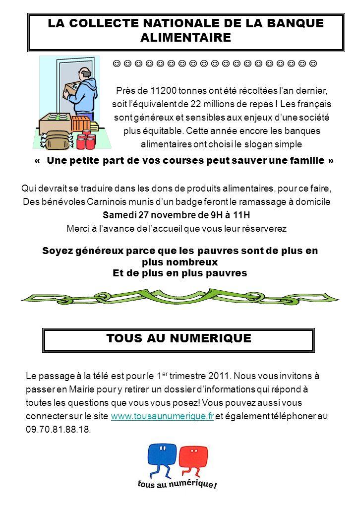 LA COLLECTE NATIONALE DE LA BANQUE ALIMENTAIRE Près de 11200 tonnes ont été récoltées lan dernier, soit léquivalent de 22 millions de repas ! Les fran