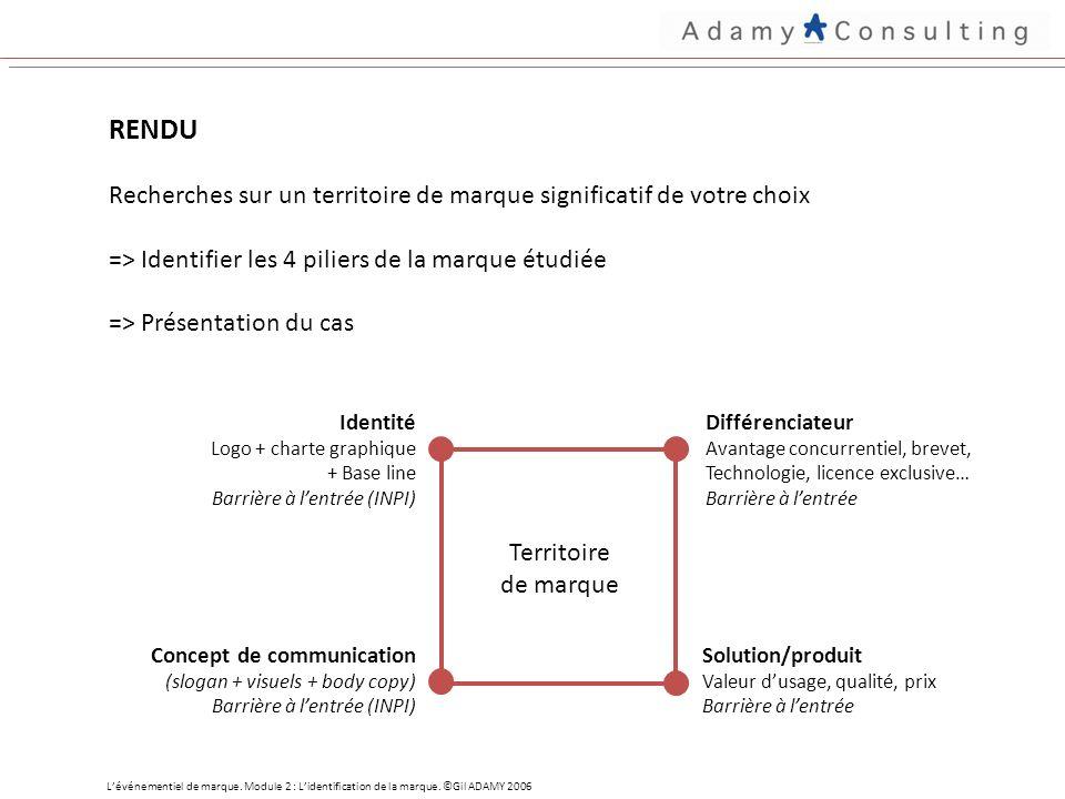 RENDU Recherches sur un territoire de marque significatif de votre choix => Identifier les 4 piliers de la marque étudiée => Présentation du cas Lévénementiel de marque.
