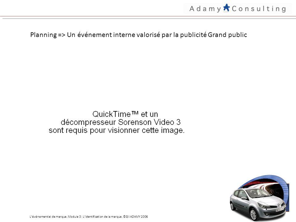 Planning => Un événement interne valorisé par la publicité Grand public Lévénementiel de marque.
