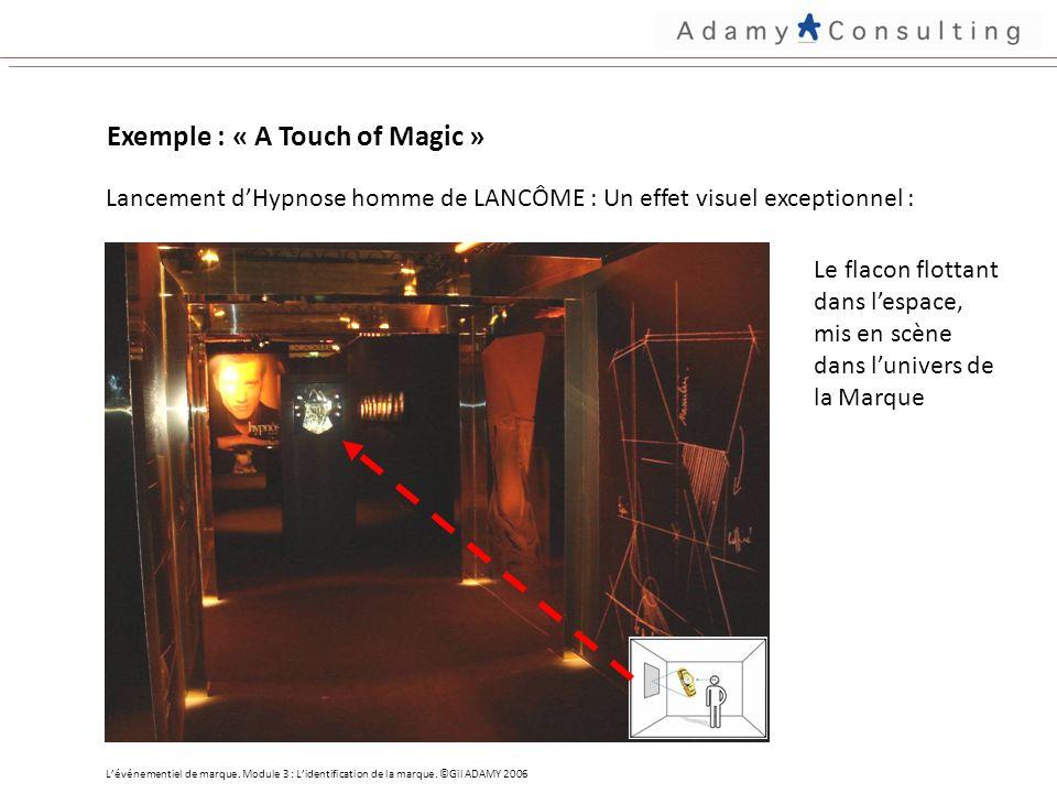 Exemple : « A Touch of Magic » Lancement dHypnose homme de LANCÔME : Un effet visuel exceptionnel : Le flacon flottant dans lespace, mis en scène dans lunivers de la Marque