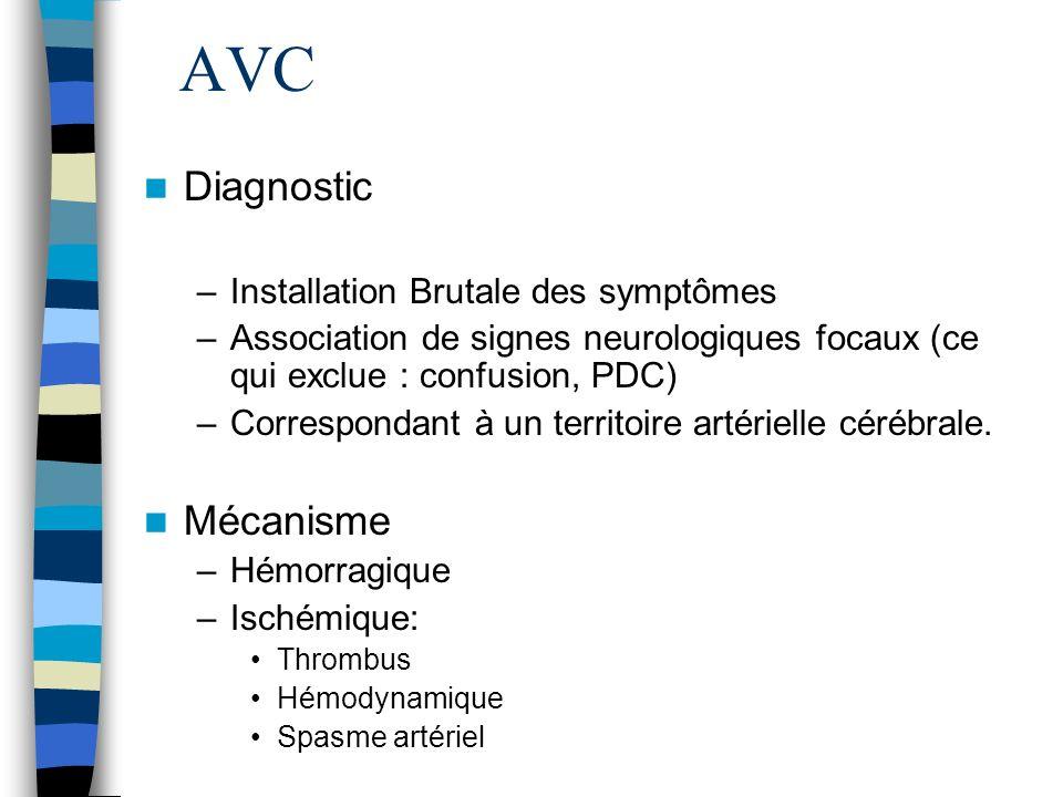 AVC Diagnostic –Installation Brutale des symptômes –Association de signes neurologiques focaux (ce qui exclue : confusion, PDC) –Correspondant à un territoire artérielle cérébrale.