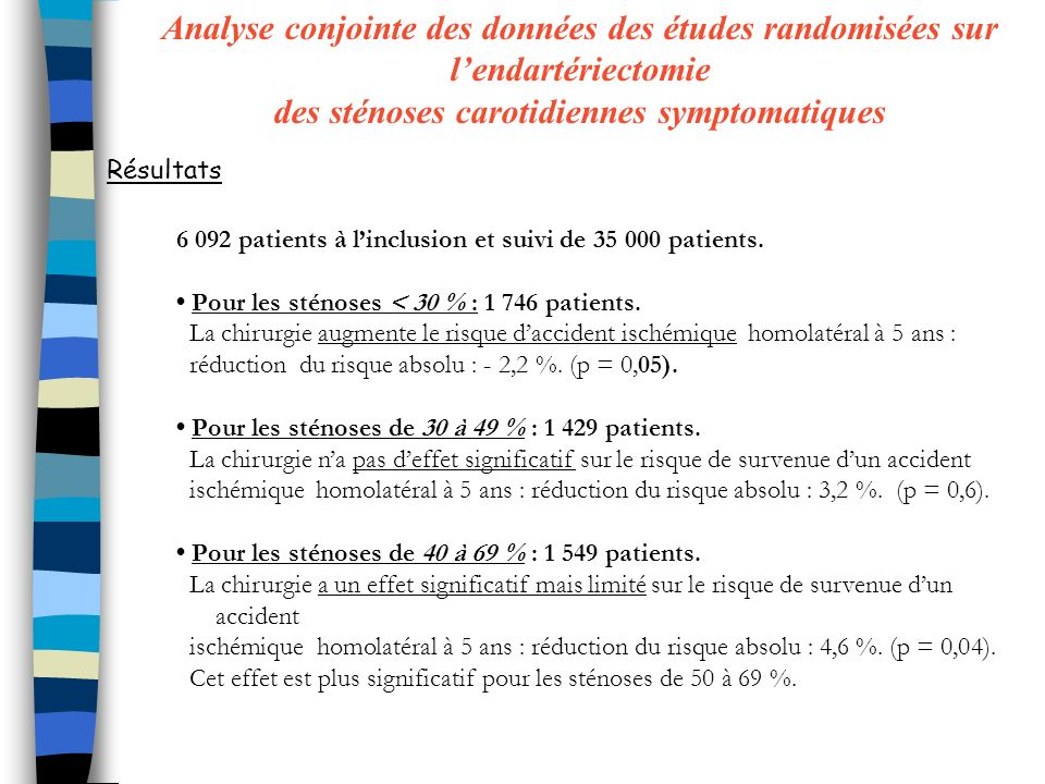 6 092 patients à linclusion et suivi de 35 000 patients. Pour les sténoses < 30 % : 1 746 patients. La chirurgie augmente le risque daccident ischémiq