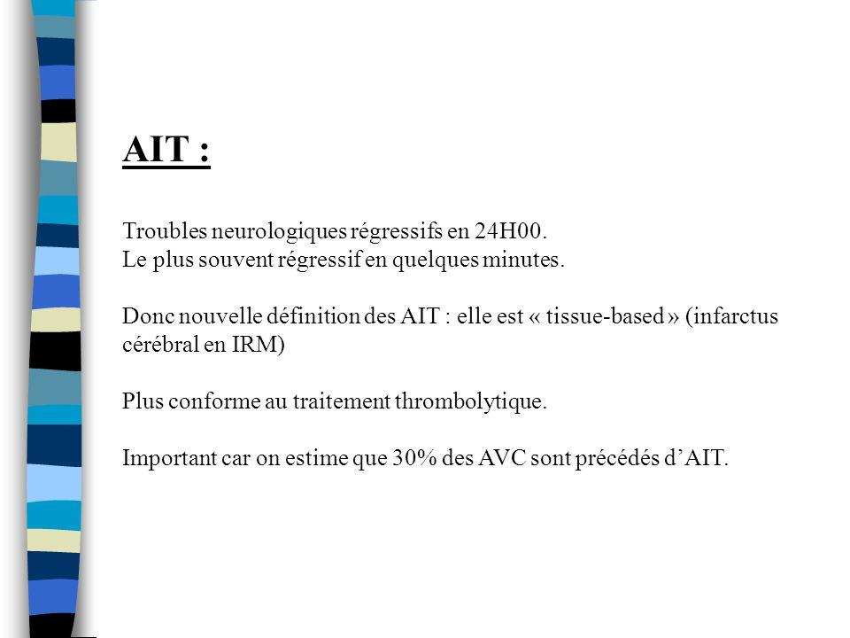 AIT : Troubles neurologiques régressifs en 24H00.Le plus souvent régressif en quelques minutes.