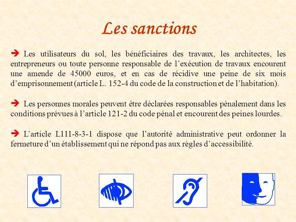Les sanctions Les utilisateurs du sol, les bénéficiaires des travaux, les architectes, les entrepreneurs ou toute personne responsable de lexécution d