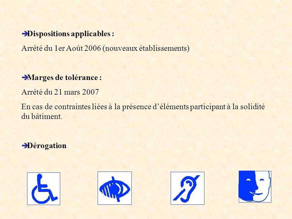 Dispositions applicables : Arrêté du 1er Août 2006 (nouveaux établissements) Marges de tolérance : Arrêté du 21 mars 2007 En cas de contraintes liées