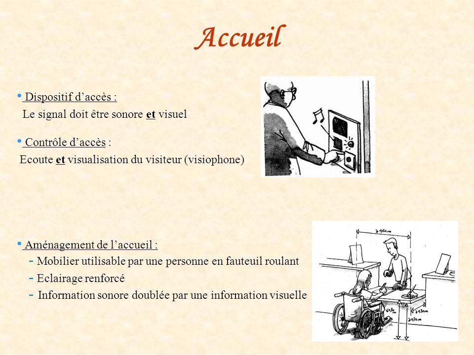 Accueil Dispositif daccès : Le signal doit être sonore et visuel Contrôle daccès : Ecoute et visualisation du visiteur (visiophone) Aménagement de lac