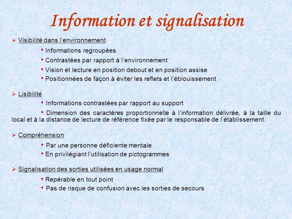Information et signalisation Visibilité dans lenvironnement Informations regroupées Contrastées par rapport à lenvironnement Vision et lecture en posi