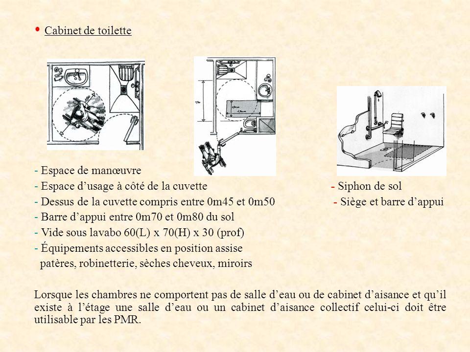 Cabinet de toilette - Espace de manœuvre - Espace dusage à côté de la cuvette - Siphon de sol - Dessus de la cuvette compris entre 0m45 et 0m50 - Sièg