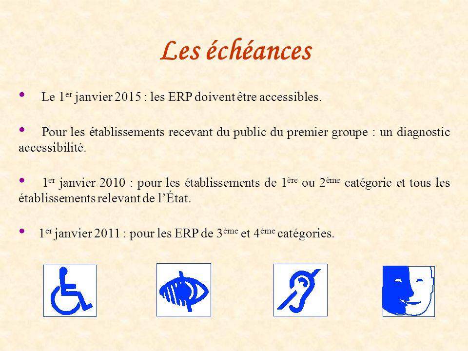 Les échéances Le 1 er janvier 2015 : les ERP doivent être accessibles. Pour les établissements recevant du public du premier groupe : un diagnostic ac