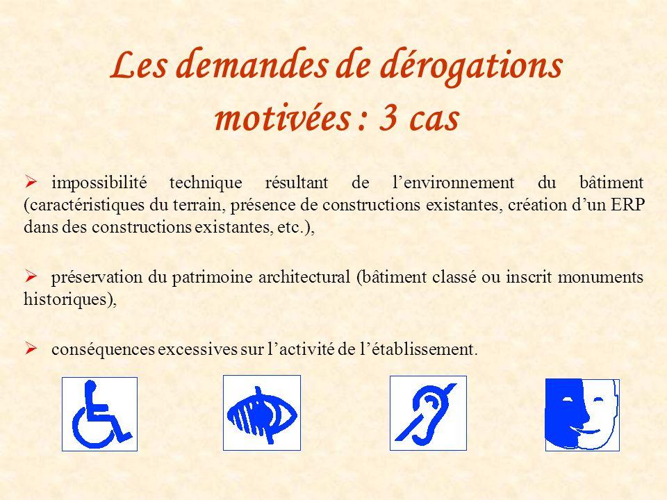 Les demandes de dérogations motivées : 3 cas impossibilité technique résultant de lenvironnement du bâtiment (caractéristiques du terrain, présence de