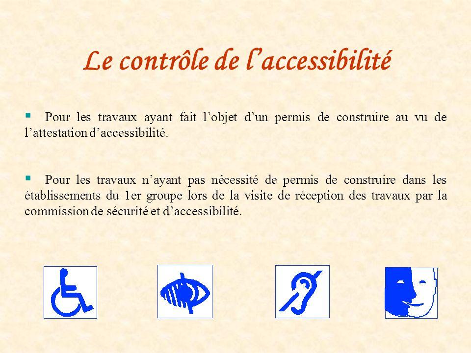 Le contrôle de laccessibilité Pour les travaux ayant fait lobjet dun permis de construire au vu de lattestation daccessibilité. Pour les travaux nayan
