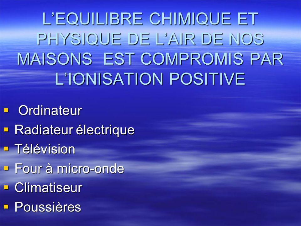LEQUILIBRE CHIMIQUE ET PHYSIQUE DE LAIR DE NOS MAISONS EST COMPROMIS PAR LIONISATION POSITIVE Ordinateur Ordinateur Radiateur électrique Radiateur éle