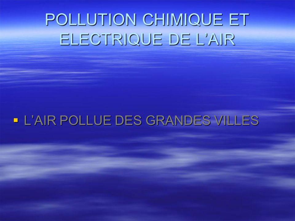 POLLUTION CHIMIQUE ET ELECTRIQUE DE LAIR LAIR POLLUE DES GRANDES VILLES LAIR POLLUE DES GRANDES VILLES