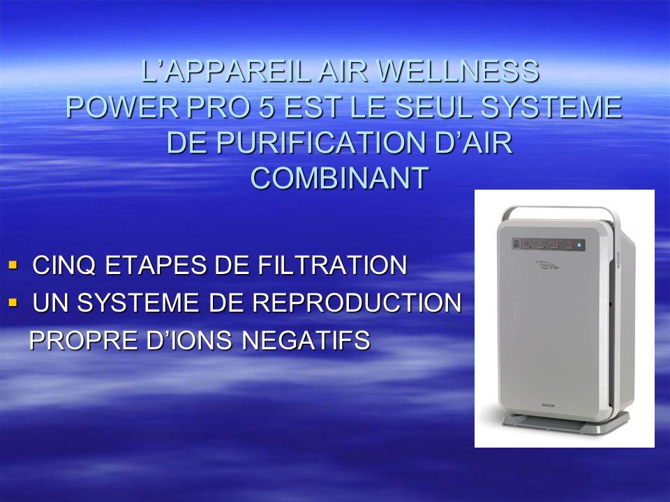 LAPPAREIL AIR WELLNESS POWER PRO 5 EST LE SEUL SYSTEME DE PURIFICATION DAIR COMBINANT CINQ ETAPES DE FILTRATION CINQ ETAPES DE FILTRATION UN SYSTEME D