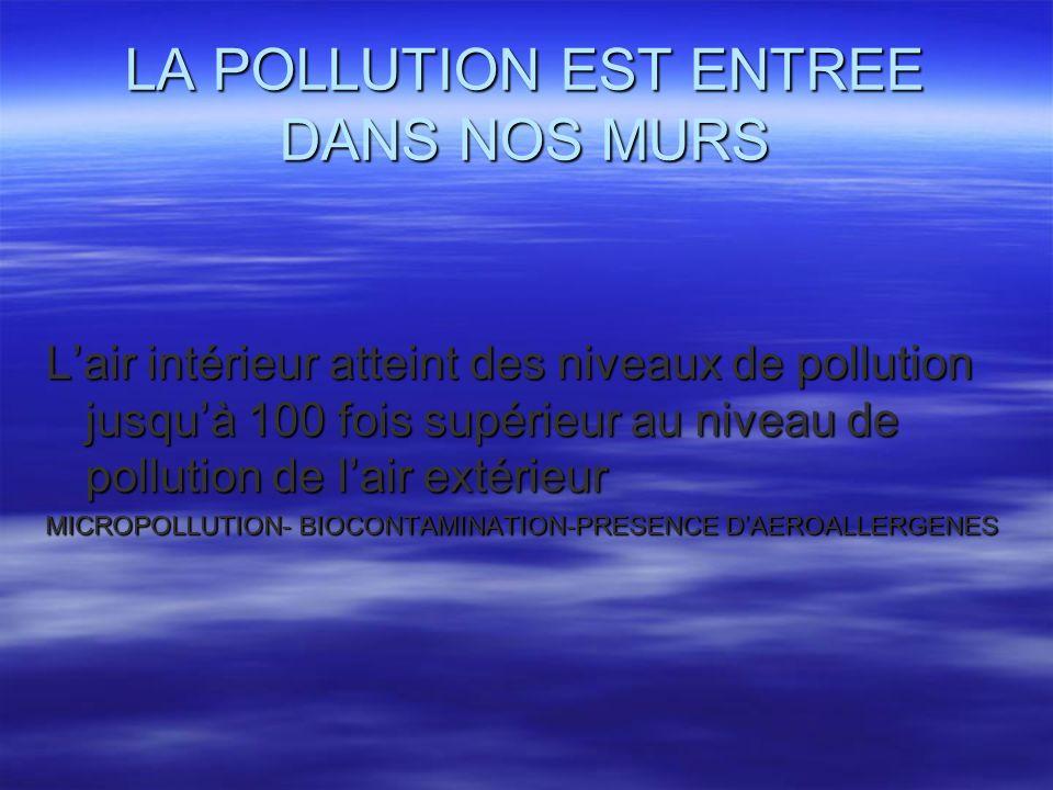 LA POLLUTION EST ENTREE DANS NOS MURS Lair intérieur atteint des niveaux de pollution jusquà 100 fois supérieur au niveau de pollution de lair extérie