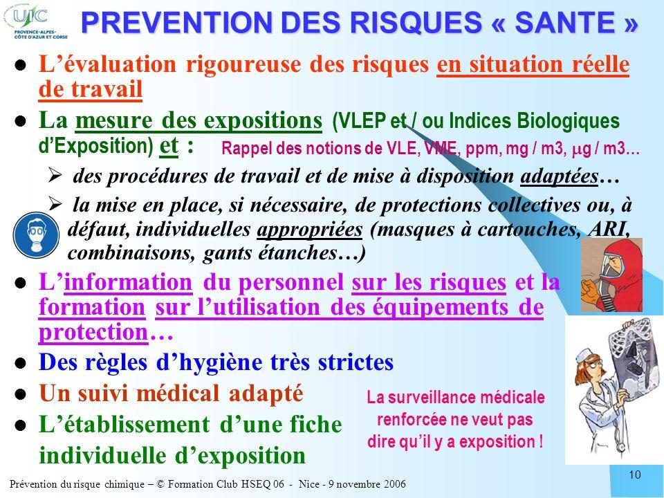 Prévention du risque chimique – © Formation Club HSEQ 06 - Nice - 9 novembre 2006 10 PREVENTION DES RISQUES « SANTE » Lévaluation rigoureuse des risqu