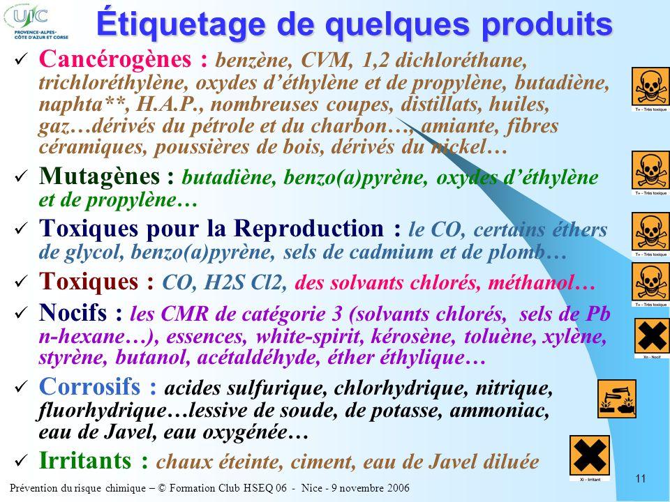 Prévention du risque chimique – © Formation Club HSEQ 06 - Nice - 9 novembre 2006 11 Étiquetage de quelques produits Cancérogènes : benzène, CVM, 1,2