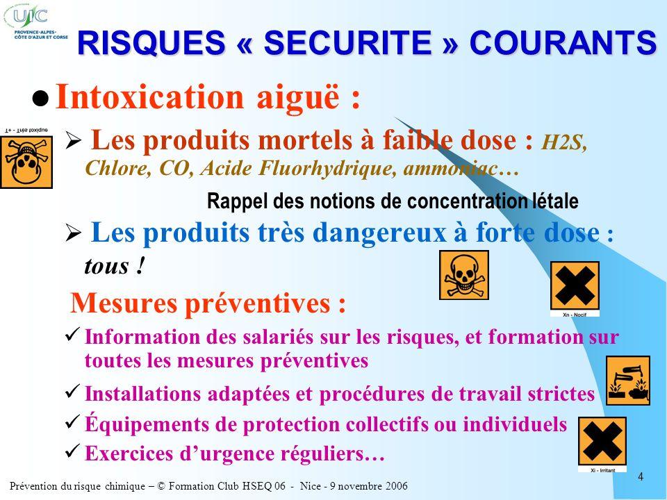 Prévention du risque chimique – © Formation Club HSEQ 06 - Nice - 9 novembre 2006 4 RISQUES « SECURITE » COURANTS Intoxication aiguë : Les produits mo