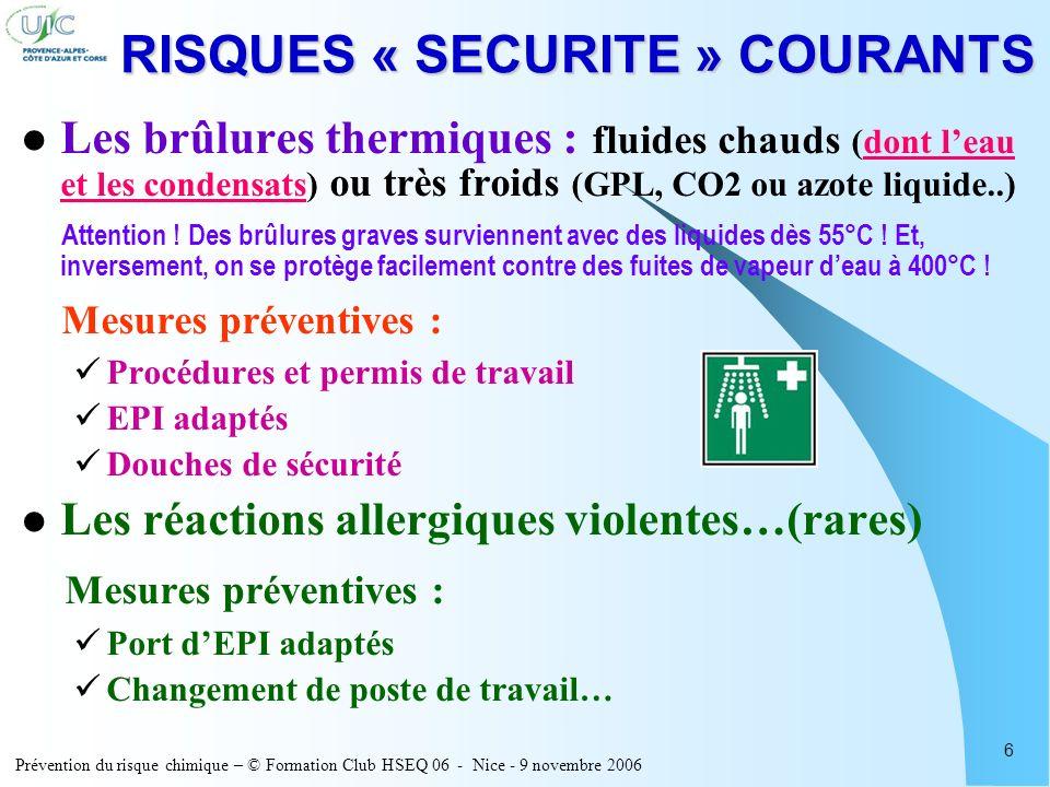 Prévention du risque chimique – © Formation Club HSEQ 06 - Nice - 9 novembre 2006 6 RISQUES « SECURITE » COURANTS Les brûlures thermiques : fluides ch