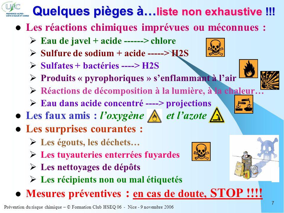 Prévention du risque chimique – © Formation Club HSEQ 06 - Nice - 9 novembre 2006 7 Quelques pièges à… liste non exhaustive !!! Les réactions chimique