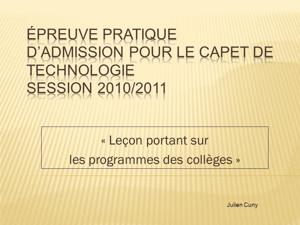 « Leçon portant sur les programmes des collèges » Julien Cuny