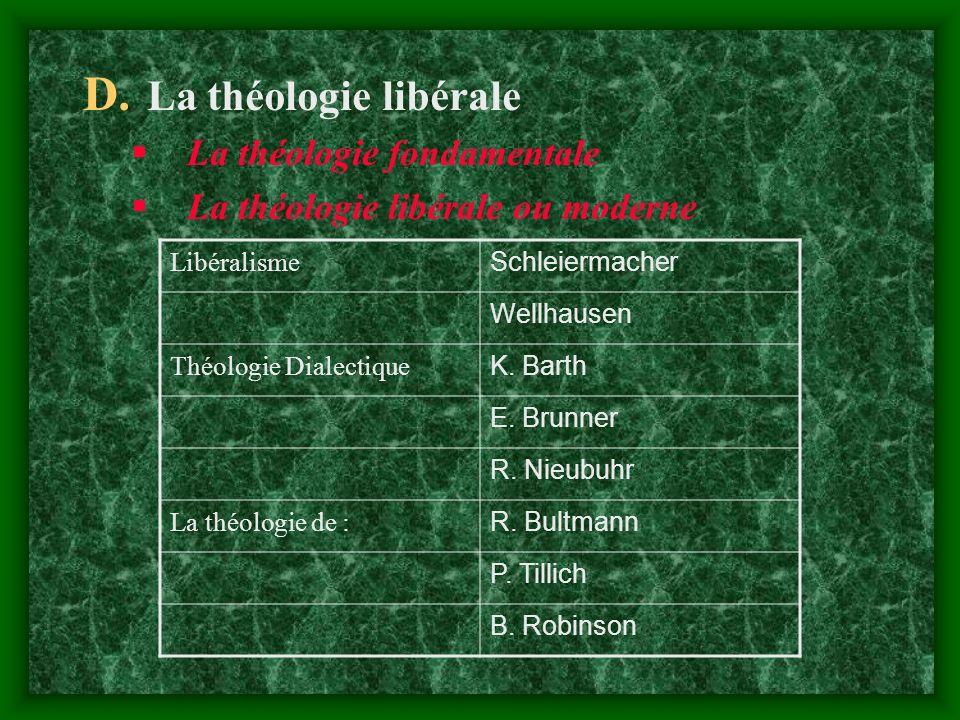 D. La théologie libérale L a théologie fondamentale L a théologie libérale ou moderne Libéralisme Schleiermacher Wellhausen Théologie Dialectique K. B