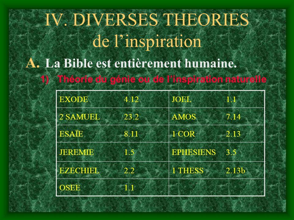 IV. DIVERSES THEORIES de linspiration A. La Bible est entièrement humaine. 1)Théorie du génie ou de linspiration naturelle EXODE4.12JOEL1.1 2 SAMUEL23