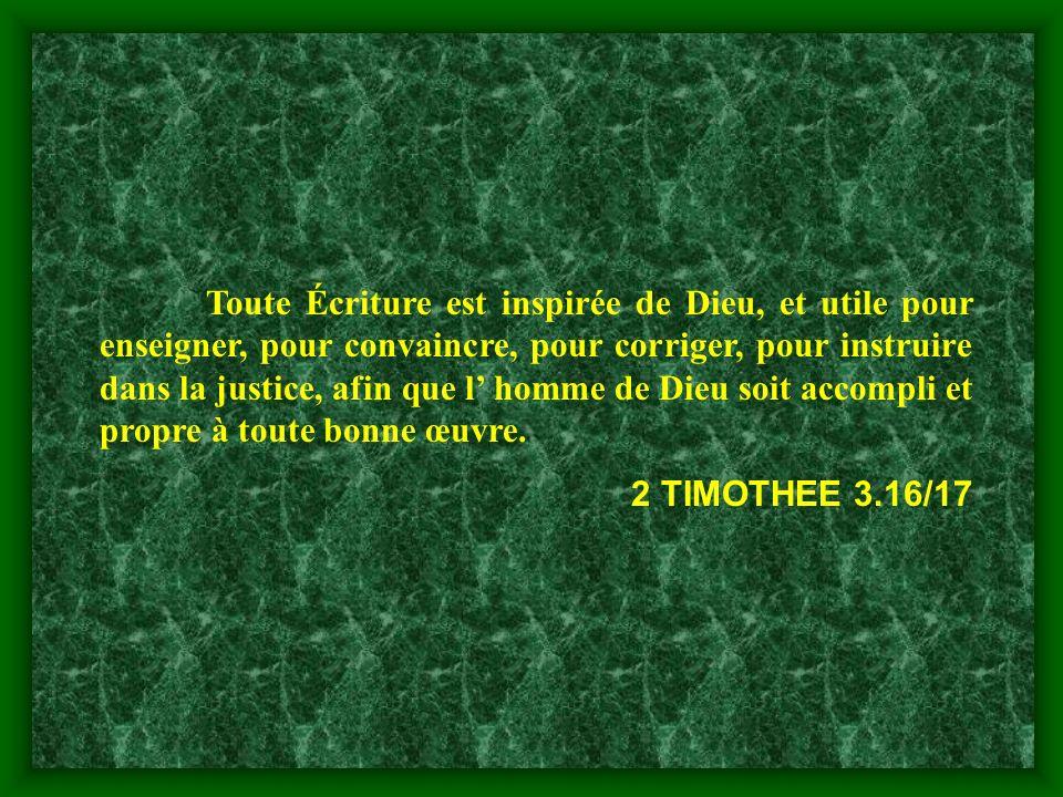 Toute Écriture est inspirée de Dieu, et utile pour enseigner, pour convaincre, pour corriger, pour instruire dans la justice, afin que l homme de Dieu