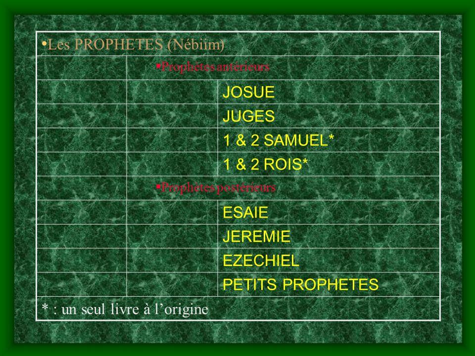 Les PROPHETES (Nébiim) Prophètes antérieurs JOSUE JUGES 1 & 2 SAMUEL* 1 & 2 ROIS* Prophètes postérieurs ESAIE JEREMIE EZECHIEL PETITS PROPHETES * : un