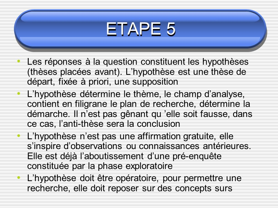 ETAPE 5 Les réponses à la question constituent les hypothèses (thèses placées avant). Lhypothèse est une thèse de départ, fixée à priori, une supposit