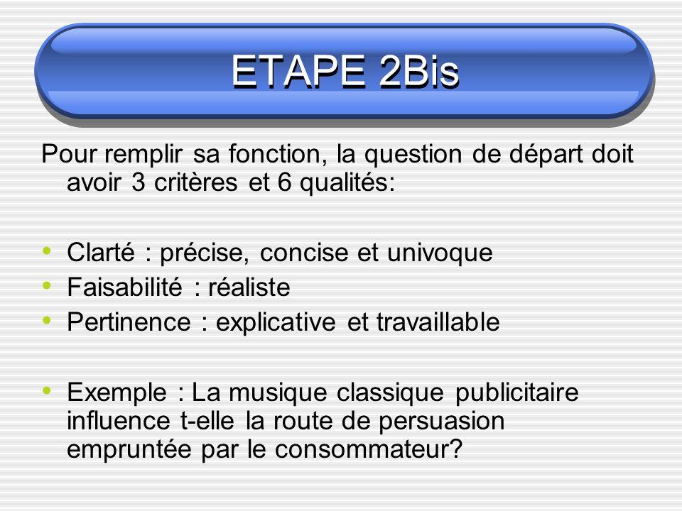 ETAPE 2Bis Pour remplir sa fonction, la question de départ doit avoir 3 critères et 6 qualités: Clarté : précise, concise et univoque Faisabilité : ré