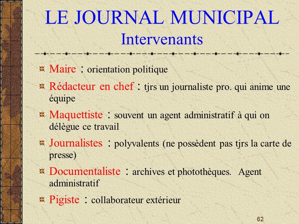 62 LE JOURNAL MUNICIPAL Intervenants Maire : orientation politique Rédacteur en chef : tjrs un journaliste pro.