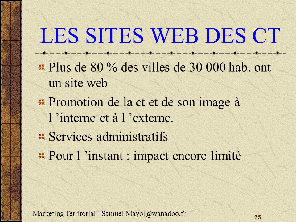 65 LES SITES WEB DES CT Plus de 80 % des villes de 30 000 hab.