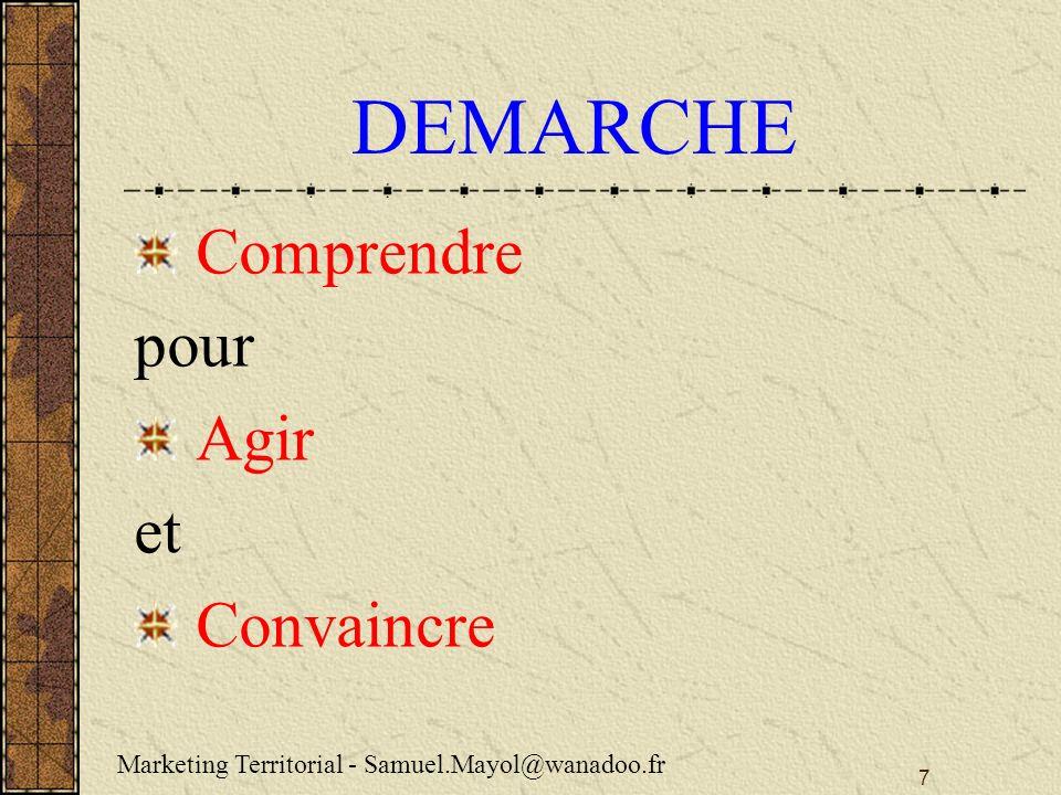 7 DEMARCHE Comprendre pour Agir et Convaincre Marketing Territorial - Samuel.Mayol@wanadoo.fr