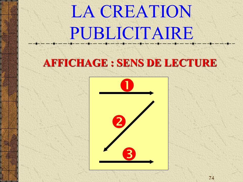 74 LA CREATION PUBLICITAIRE AFFICHAGE : SENS DE LECTURE