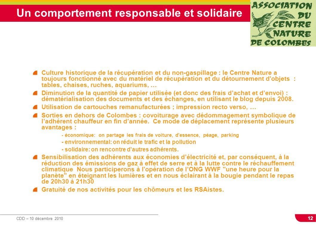 12 CDD – 10 décembre 2010 Un comportement responsable et solidaire Culture historique de la récupération et du non-gaspillage : le Centre Nature a tou