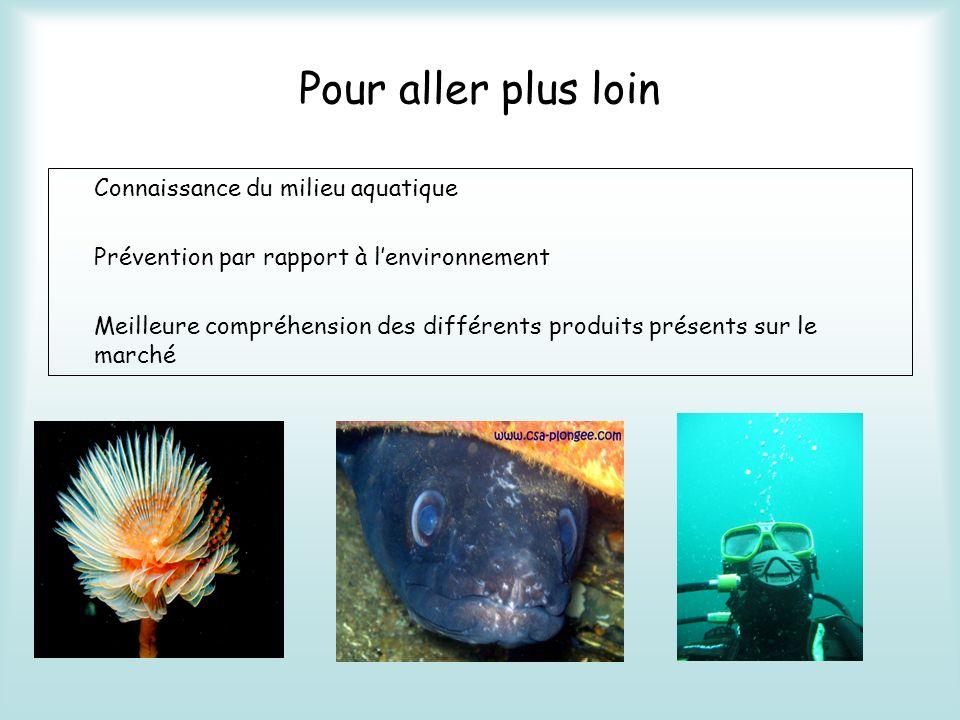 Pour aller plus loin Connaissance du milieu aquatique Prévention par rapport à lenvironnement Meilleure compréhension des différents produits présents