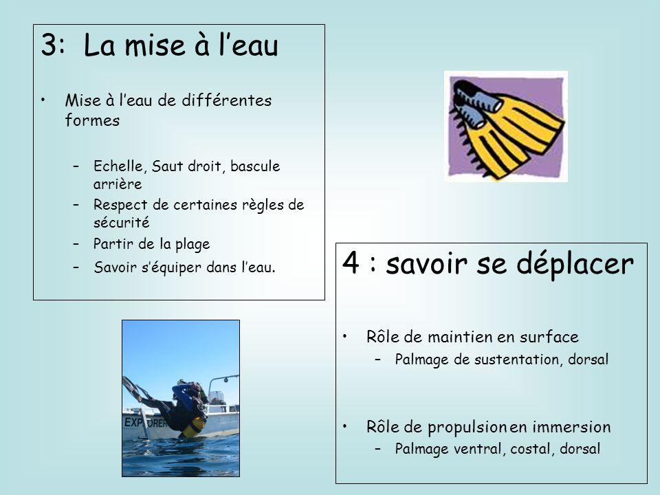 3: La mise à leau Mise à leau de différentes formes –Echelle, Saut droit, bascule arrière –Respect de certaines règles de sécurité –Partir de la plage