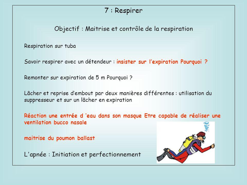 7 : Respirer Objectif : Maitrise et contrôle de la respiration Respiration sur tuba Savoir respirer avec un détendeur : insister sur lexpiration Pourq