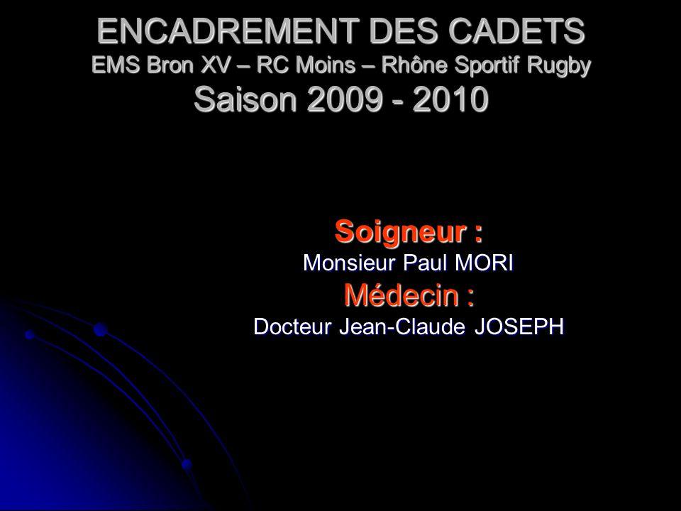 ENCADREMENT DES CADETS EMS Bron XV – RC Moins – Rhône Sportif Rugby Saison 2009 - 2010 DIRECTEUR SPORTIF Monsieur Julien BUGNAZET ENTRAINEURS : Monsie