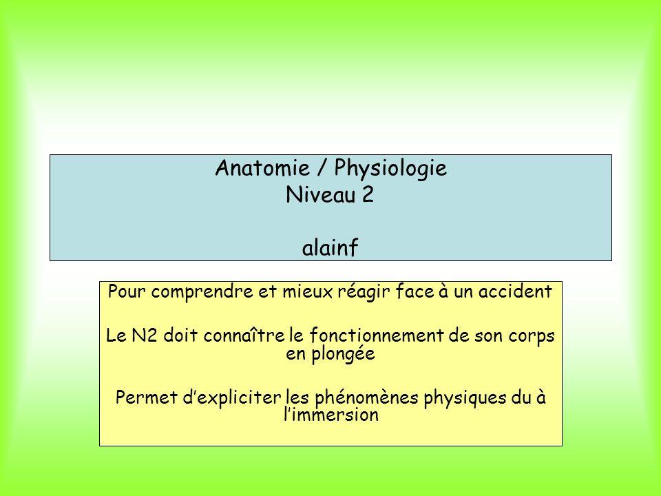 Anatomie / Physiologie Niveau 2 alainf Pour comprendre et mieux réagir face à un accident Le N2 doit connaître le fonctionnement de son corps en plong