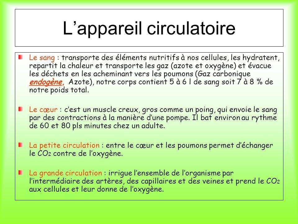 Lappareil circulatoire Le sang : transporte des éléments nutritifs à nos cellules, les hydratent, repartit la chaleur et transporte les gaz (azote et