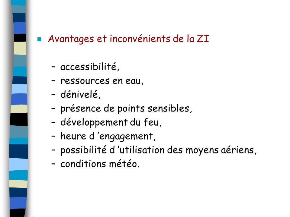 n Avantages et inconvénients de la ZI –accessibilité, –ressources en eau, –dénivelé, –présence de points sensibles, –développement du feu, –heure d en