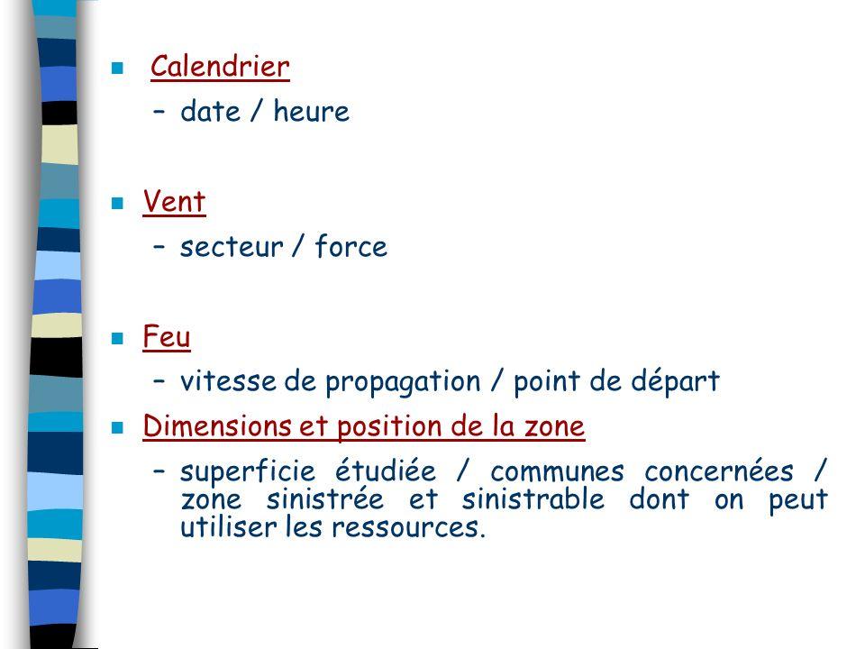 n Calendrier –date / heure n Vent –secteur / force n Feu –vitesse de propagation / point de départ n Dimensions et position de la zone –superficie étu